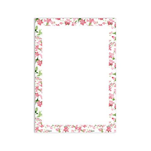 #detailverliebt Romantisch Papier Bloemen Frame A4 50 Vellen, Schrijven Papier briefpapier Bloemen Liefde