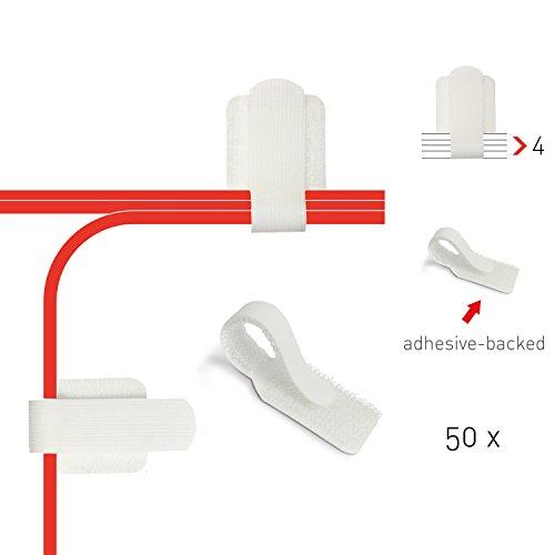 Label-the-cable Kabelhalter selbstklebend mit Klettverschluss, Kabelführung, Kabelbinder, Kabelbefestigung, Kabelschellen, für Wand und Schreibtisch/ LTC WALL STRAPS, 50 Stück, Weiß, PRO 3120