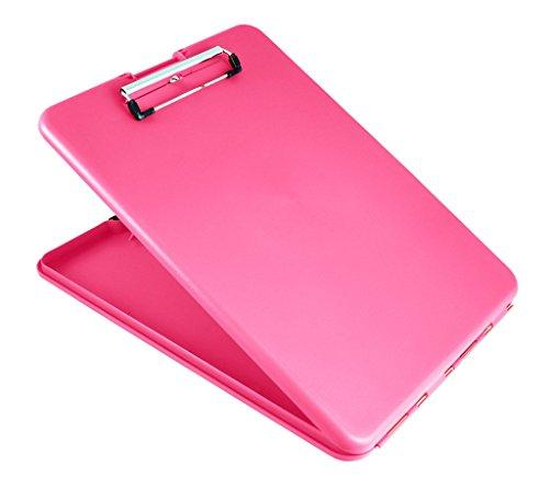 Läufer 55806 SlimMate Portable Desktop Klemmbrett mit Innenfach, für DIN A4 besonders flach, abgerundete Ecken, oben öffnend, Kunststoff, pink