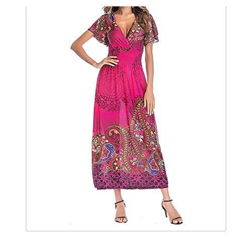 ylh dames jurk, nieuwe V-hals korte mouwen lange rok AliExpress Cross-Border jurk dweilen rok