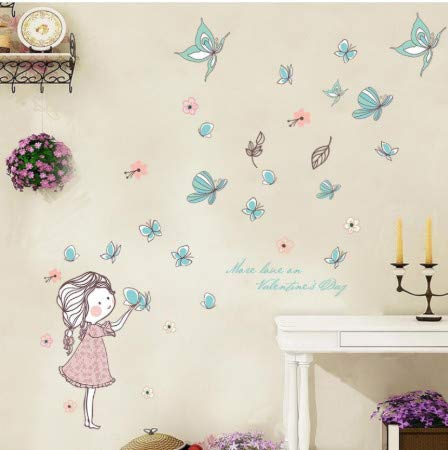 TTBH DIY Lovely Baby Girl Bedroom Decor Wall Stickers Cute Cartoon Butterfly Flying Home Children Rooms