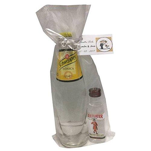 Pack miniatura de ginebra Beefeater con tónica Schweppes en bolsa de organza para regalo (Pack 24 ud)