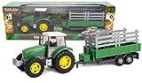 TOYLAND® - Juego de Tractor y camión Cisterna / Remolque de 22,5 cm - Acción de Rueda Libre - Juguetes de Granja para niños (Remolque Verde)