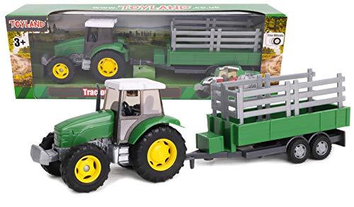 TOYLAND - Juego de Tractor y camión Cisterna / Remolque de 22,5 cm - Acción de Rueda Libre - Juguetes de Granja para niños (Remolque Verde)