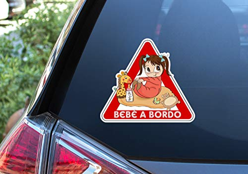 Pegatina Vinilo Bebe niña a Bordo, Baby girl on Board. Adhesivo vinilo para coche. (16x18cm)