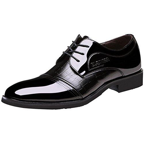 Wealsex Zapatos Hombre Clásico Cuero Brillante Derby Casual Ante Cordones Boda Verano...