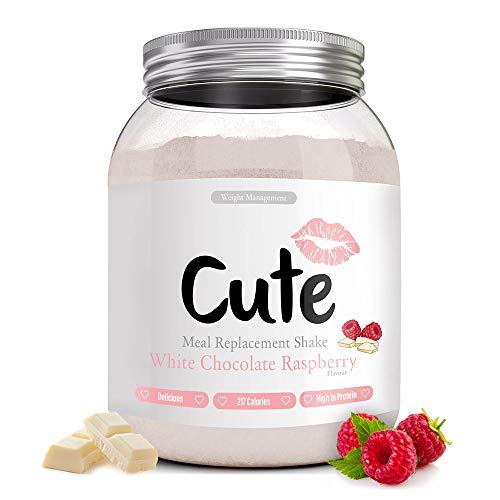 Cute Nutrition Shake Cioccolato Bianco Lampone Sostitutivi del Pasto per la Perdita e Controllo di Peso Bevanda Dietetica Dimagranti per Donne 500g