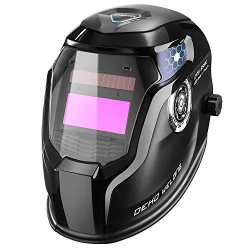 DEKO Casco para soldar con energía solar PRO Casco de oscurecimiento automático con rango de sombra ancha ajustable 4/9-13 para máscara de soldador de arco Mig Tig