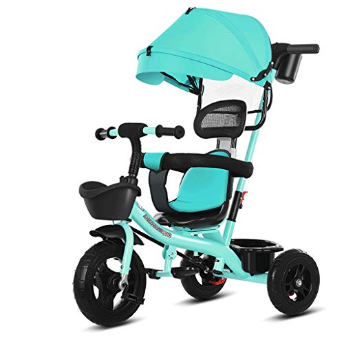 Best Deals! Baby Kids Easy Steer Tricycle Buggy Stroller with Oxford Cloth Pedal and Reversible Seat...