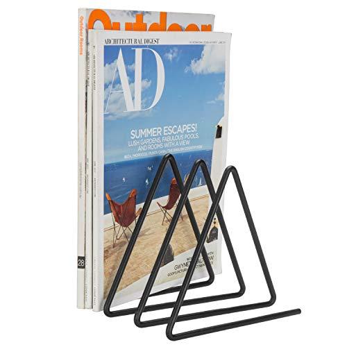 MyGift 3-Slot Desktop Triangular Black Metal Wire Magazine, Book & File Sorter
