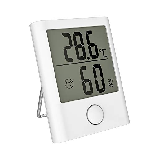 HOPLAZA Mini Digital Thermometer and Hygrometer, Temperature and Humidity Monitor with LCD Screen ℃ ℉ Switchable for Home, Office, Baby Nursery Room Comfort