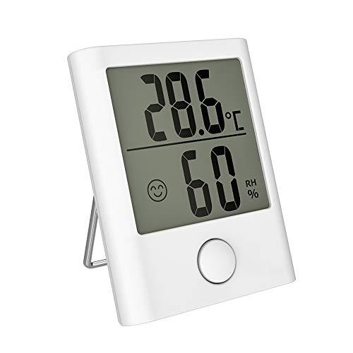HOPLAZA Mini Digitales Thermometer Hygrometer Innen, Temperatur und Luftfeuchtigkeitmessgerät mit Komfortanzeige für Babyraum, Wohnzimmer, Büro, usw (White)
