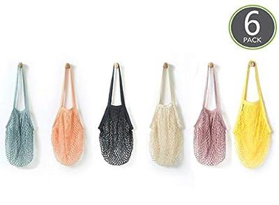 6 Pack Portable,Reusable,Reusable Produce Bags,Washable Cotton Mesh String Organic Organizer Shopping Handbag Long Handle Net Tote (grey blue,Black,Beige,Pink,Purple,Yellow)