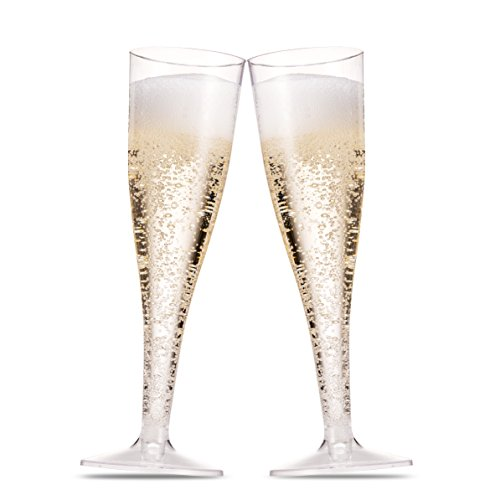 50 Plastic Champagne Flutes ~ 5 Oz Clear Plastic Toasting Glasses ~ Disposable Wedding Party Cocktail Cups