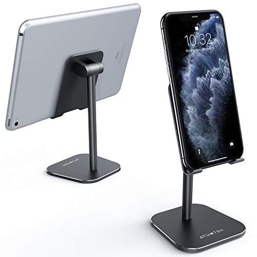 ATUMTEK Universaler Handy Ständer, Starkes Alluminium Verstellbarer Handyhalter für iPhone 11/11 Pro/XS Max/XR/XS/X/8/7 Plus, iPad, Samsung, Switch, alle Tablets und Smartphones (schwarz)