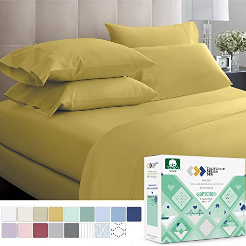 600-Thread-Count Best 100% Cotton Bed Sheet Set - Ivory Extra Long-staple Cotton Queen Sheet For...