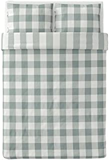 Ikea Emmie Ruta Full Queen Duvet Cover and Pillowcases Green White 004.002.15