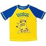 Pokemon Pikachu Toddler Boys Short Sleeve Rash Guard Swim Top Yellow/Blue 4T