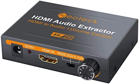 Neoteck 4K HDMI Audio Extractor with Volume Knob HDMI to Optical Spdif Toslink R L RCA 3 5mm product image