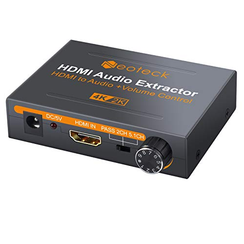 Neoteck 4K HDMI Audio Extractor with Volume Knob, HDMI to Optical Spdif Toslink + R/L(RCA) + 3.5mm Stereo Audio Converter for Blu-ray DVD Player Sky HD Box PS3 PS4