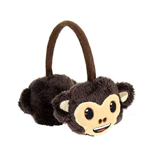 Cute Adjustable Emoji Furry Earmuffs for kids, Oversized Fuzzy Girls Winter Soft Ear Warmers (Monkey Emoji)