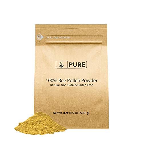 Natural Bee Pollen Powder (8 oz) Gluten-Free, Non-GMO, No Preservatives, Paleo, Eco-Friendly Packaging