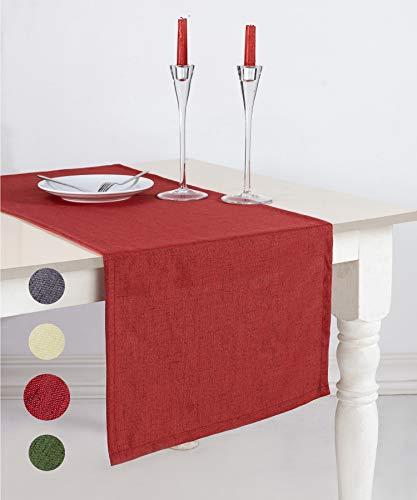 pamuq® Tischläufer Weihnachten Leinen-Optik | 48x160 cm | abwaschbar & fleckenabweisend | Tischdecke Table Runner Läufer Tisch-Deko Tischband Tafeltuch Tischtuch Tischwäsche (Wein-rot)
