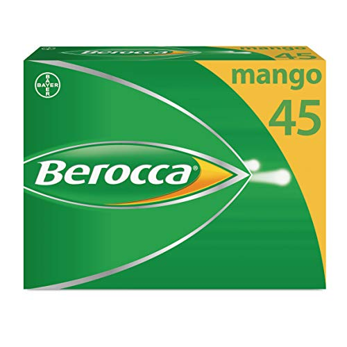 Berocca Vitamin C Effervescent Tablets, with Magnesium, Vitamin B12 and Vitamin B Complex, Mango Flavour, 1 Pack of 45 Tablets - 6 Weeks Supply