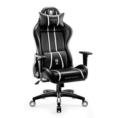 Diablo X-One 2.0 Sedia Gaming Ufficio Scrivania Braccioli Regolabili Design Ergonomico Cuscino Collo Lombare (Nero-Bianco, XL)