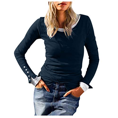 Best Buy! Ros1ock_Women's Tops Boat Neck Patchwork Button Fake Two Pieces Long Sleeve T- Shirts Casual Pullover Navy