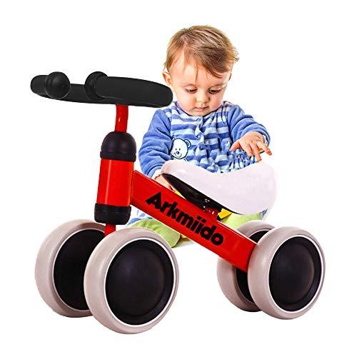 Baby loopfiets, rit op fietsen, kinderfiets, glijdende fiets 4 wielen, trike peuter walker kleur rood 1-3 jaar oud (Rood)