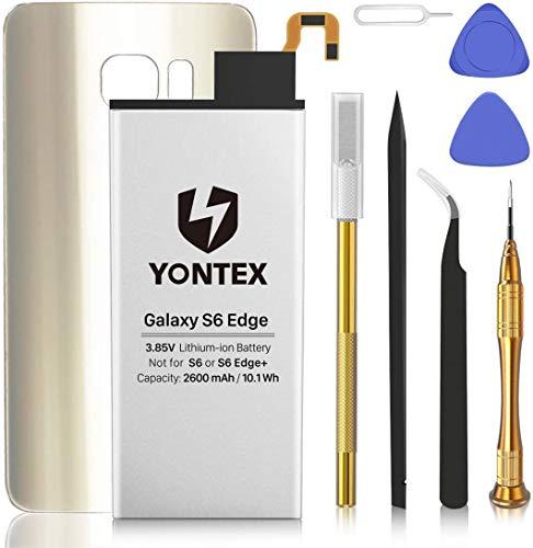 YONTEX Galaxy S6 Edge Ersatz Akku mit Akkudeckel und Reparaturset mit Werkzeug, 2600mAh Ersatzakku 0 Zyklus Batterie für Samsung Galaxy S6 Edge(Gold)