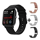 YDL New P8 Pantalla De Color Smart Watch Mujeres Hombres Touch Fitness Tracker Presión Arterial Reloj Inteligente Mujer Smartwatch para Xiaomi (Color : Black with 3 sraps)