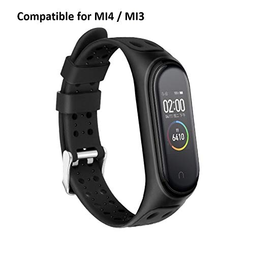 Rapidotzz Sporty Strap for Xiaomi MI Band 4 and MI Band 3 Belt Band Compatible for Mi3 and Mi4 (Black)