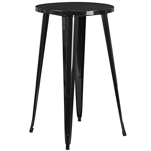 "Flash Furniture Commercial Grade 24"" Round Black Metal Indoor-Outdoor Bar Height Table"