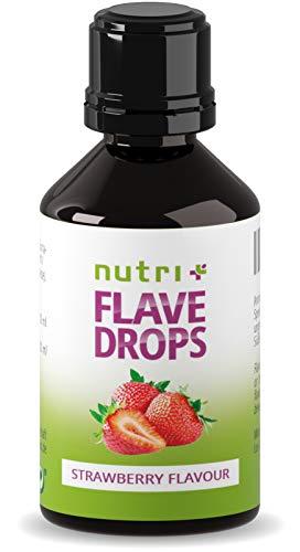 Flavor Drops Erdbeere 30ml - Aromatropfen ohne Kalorien - Geschmacks Tropfen zum Süßen und als Backaroma - Erdbeeraroma Vegan - Strawberry Flavour