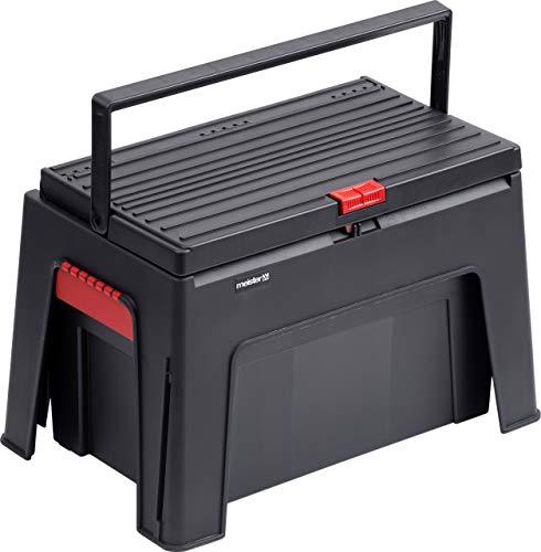 Meister 9095100 9095100-Taburete 3 en 1 (460 x 280 x 300 mm, con Caja Bandeja para Herramientas, Capacidad de Carga de 150 kg, Polipropileno)