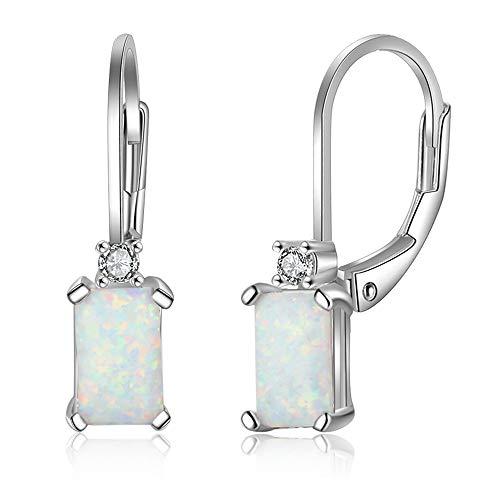 B&H-ERX Geometrische 925 Sterling Silber Creolen rechteckig erstellt weiß Feueropal Ohrringe edlen Schmuck Zubehör