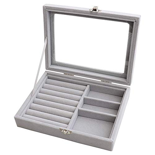 FAMEI Ring Storage Box Flannel Large Capacity Jewelry Bracelet Earrings Box with Lock