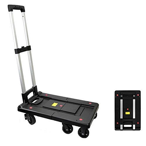 MNSSRN Haushalt Folding Flach Carts, Multifunktionseinkaufs Outing, Trolley Karren, Wagen Carts, tragbare Kleinlastkarren LKW,Schwarz,L