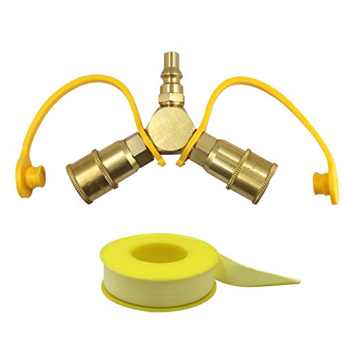 "Solid Brass 1/4'' RV Propane Quick Connect Y Splitter Adapter for RV Trailer and Quick Connect Propane Hose, Connect to Motorhome Tabletop Grill, 1/4"" Quick Connect Kit, 2 Way LP Gas Adapter Connectors Grill Hoses"