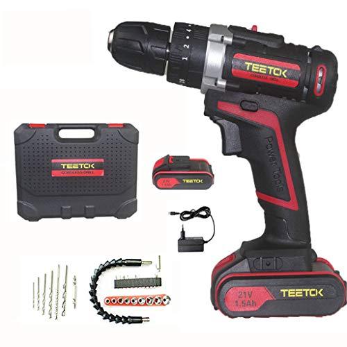 21V Cordless Hammer Combi Drill | 2 x 1500mAh Batteries ,30 Pcs Bit Accessories for DIY Power Screw Driving, Drilling, Hammering 3 in 1,Handy Case| TEETOK