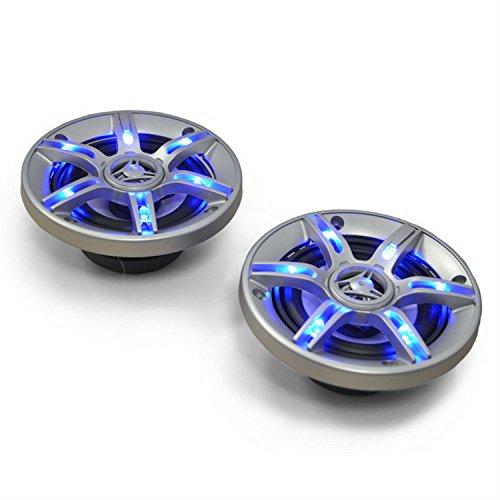 auna CS-LED5-3-Wege-Koaxial-Boxen, Auto Lautsprecher, Car HiFi Set, Einbau-Lautsprecher Paar, 2 x 300 W max. Leistung, 2 x 13 cm-Boxen, Neodymium-Tweeter, Blauer LED-Effekt, Silber