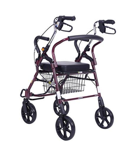 meylee Chaise roulante pour Personnes âgées, Chariot à roulettes léger en Aluminium à 4 Roues avec siège rembourré, Freins verrouillables et Panier