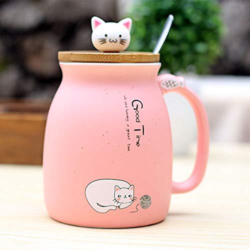 REFURBISHHOUSE sesam Katze hitzebestaendige Tasse Farbe Cartoon mit Deckel kaetzchen Milch Kaffee Keramik Becher Kinder Cup buero Geschenke (rosa)
