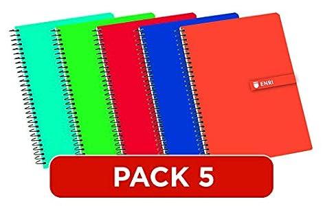 Enri 100430081 - Cuadernos Cuarto(A5), Paquete 5 unidades, Tapa Dura, 80 Hojas cuadrícula 4x4, Surtido aleatorio