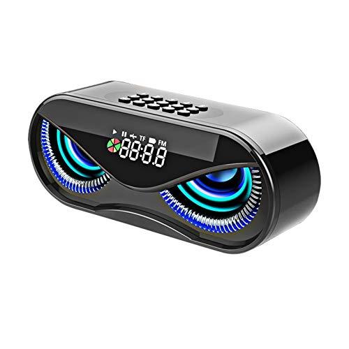 ZIJ M6 Eule DesignL ^ E ^ D Anzeige Bluetooth Lautsprecher Wireless Dual Lautsprecher Wireless Lautsprecher Support TF Karten Wecker FM Radio (Color : Black, Woofer Size/Full-Range Size : China)