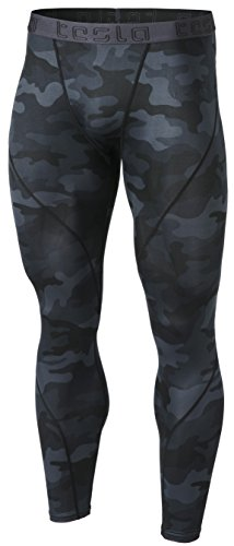 TSLA Men's UPF 50+ Compression Pants, UV/SPF Running Tights, Workout Leggings, Cool Dry Yoga Gym Clothes, Athletic(mup19) - Camo Black, X-Large