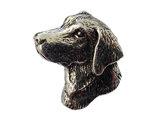 Brazil Lederwaren Ansteckpin Hundekopf | für den Hut oder das Revers | Perfekt für Hunde-Liebhaber | Anstecker Pin Button | Altsilber
