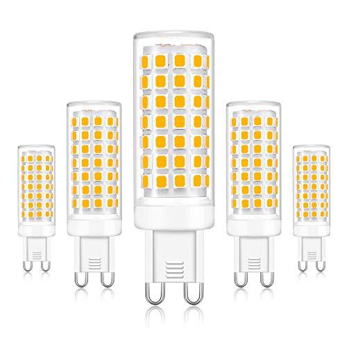 Kimjo G9 LED Lampadina 6W, Bianco Freddo 6000K, Equivalente a 40W 50W 60W Lampada Alogena,Non Dimmerabile G9 LED Fredda 600LM AC230V Senza Flicker, Angolo di 360 Gradi 5-pezzi
